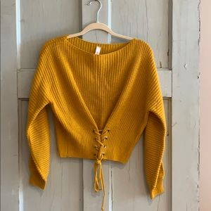 Mustard Sweater with Lace Up Front Detail